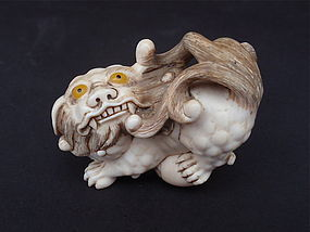 Japanese Ivory Netsuke Shishi Foo dog signed Tomo Tada 