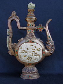 Chinese Tibetan carved white Jade  Silver tea pot 