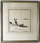 Girl by the Beach Frank Van Sloun ink and watercolor