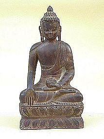 Antique Carved Wood Buddha Burma 19th century