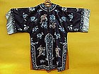 Antique Chinese Silk Embroidered robe forbidden stitch