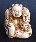 Japanese Ivory Netsuke Buddha & Shishi c.1890s